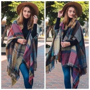 Burgundy Plaid Ruana Poncho